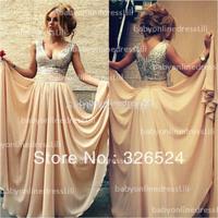 New arrivals long sequin dress v neck  vestidos evening dress prom dress 2014 lace up back cps046