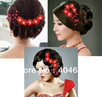 Married a red cheongsam hair headdress flower variety. Other colors stage performance.Free Shipping