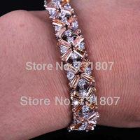 Wholesale Dazzling Emerald Morganite & White Topaz  Silver Bracelet Fashion Stone Jewelry Free Shipping