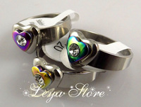 Leya Wholesale 36 pcs Color Clear Crystal design Silver plated Stainless steel rings Fashion Jewerly Free Shipping