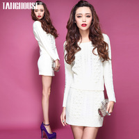 Fashion autumn 2013 new arrival female fashion vintage sphere twisted sweater skirt slim casual set