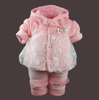 Children's clothing female winter child thickening wadded jacket set baby clothes kids clothes