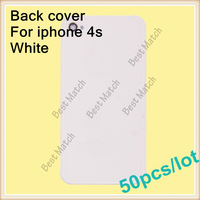 Free shipping White 50pcs/lot Factory price Glass Back Cover Battery Door Housing Replacement For Iphone 4s Repair Parts