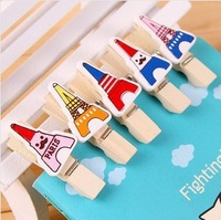 wholesale 12pcs one sets 60pcs/lot,cute tower wood clips,memo card clamp /color panting wooden paper pegs/photo clamp