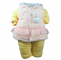 Children's clothing 2013 baby winter thickening cotton-padded jacket female child wadded jacket set gentlewomen outerwear