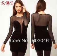 2014 Hot cheap free shipping fashion sexy deep V halter net yarn stitching Slim dress Wholesale perspective