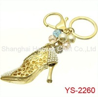 YS-2260 Newest!! For 2014 Diamond Shoe Metal Keychain Of Fashion Jewelry Keyring keycharm For Promotional Gift