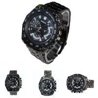 Free Shipping Fashion Men's Cool Sport Black Luxury Stainless Steel Strape Quartz Wrist Watch