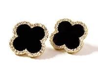 Luxurious jewelry wholesale new fashion four leaf clover earrings flower gold plated rhinestone stud earrings gifts women