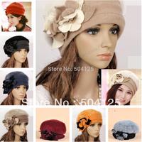 min mix order is $10-- Warm Flower Winter wool rabbit fur Womens Hat Beanie Cap beret patchwork lady