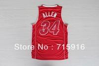 New season #34 Ray Allen full red new fabrics basketball jersey