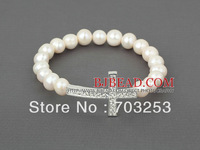 Elegant Style Natural White Freshwater Pearl Bracelet Sideways/Side Way Cross Stretch Bracelet FREE Shipping