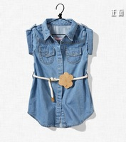 Hot sale 2013 baby girls solid color denim dress kids short sleeve belt dress toddlers turn-collar denim dress free shipping