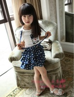 Hot sale 2013 baby girls dot casual dress kids layered cute  dress toddlers short sleeve fashion dress free shipping