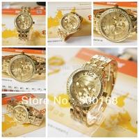 Free Shipping Luxury Fashion Gold jewelry Xmas Gift Crystal Quartz Dress Date Calendar Girl Wrist Watch