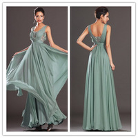 2014 new arrival  V-neck sage  green floor length long formal evening dresses ruched bodice low back chiffon prom gown  PM111803