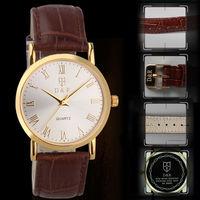 Free Shipping Fashion Genuine Leather Unisex Durable Quartz Alloy Case Men's Dress Wrist Watch