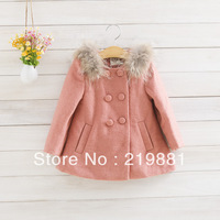 free shipping !Girls double-breasted bowknot cloth coat , girls winter coat   5pcs/lot
