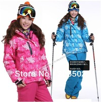 2014 quality goods womens waterproof windproof insulated printed snowboard set suit ladies ski suit ski jacket and pants skiwear