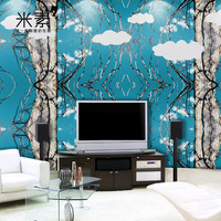 Large mural sofa TV background wallpaper wallpaper bedroom wallpaper modern minimalist elegant tree