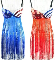 Free shipping 2013 female singer costumes tassel one piece full dress bra fashion flag bikini bra