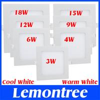 3W 4W 6W 9W 12W 15W 18W Cool White Warm White LED Panel Light Lamp 110V 220V Home Luminaria Panel Ceiling Downlight Light