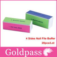 wholesales Freeshipping-20pcs 4 Sides NEW Nail File Buffer Polish Smooth Manicure Tool NFB-017W