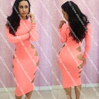 Free Shipping New 2013 Novelty Long Sleeve Bandage Dress Slim Elegant Club Dresses Pink Casual Dress S,M,L