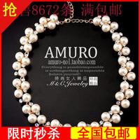 Autumn female elegant pearl elegant luxury sparkling rhinestone chain short bride necklace