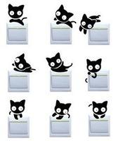 9 Pcs Fashion Cute Creative Switch Stickers Kinds Of Big Eye Cat Shapes Bedroom Parlor Wall Stickers