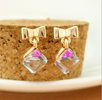 Elegant all-match the small square crystal stud earring bow earrings quality stud earring