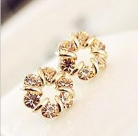 Vintage delicate full rhinestone 14k gold surround abstract crystal stud earring earrings female