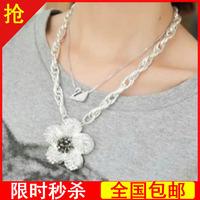 Ladies rhinestone 2013 flower necklace short design chain women's necklace