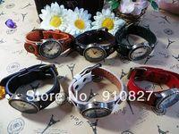 Wholesale wristwatches 6 colors leather strap watch men women students sports analog quartz Watch 300pcs best gift free shipping