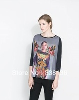 2013  new item free shipping  women T shirt  long sleeve  girl printing front , solid black back