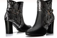 2013 autumn new  women's fashion full genuine leather patchwork boondocker boots ultra high heel ankle shoes Y438
