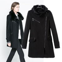 Z women's winter women's 2013 woolen cloth neck piece overcoat trench outerwear black overcoat