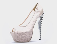 Summer New arrival 2013 Women's fashion  black lace shallow mouth  ultra high heels open toe  pump shoes Y443