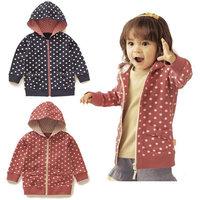 2013 autumn new children's hooded jacket / Zipper Hoodie / dot cardigan hoodies / Free shipping