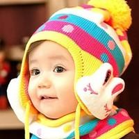 2013 Autumn winter children's hat scarf set , rabbit Modeling baby hats , velvet ear muff cap TZ1157