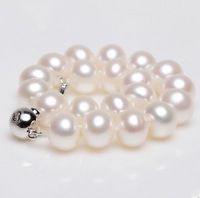 Natural Pearls White Freshwater Cultured Pearl Necklace with Sterling Silver Clasp