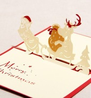 Creative 3 d Christmas CARDS Santa card DIY craft happy Christmas gift CARDS