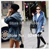2014 New High Quality Women's Denim Coat Hoodie Coat Hooded Outerwear Jeans Jacket N301