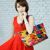 2014 spring and summer women's handbag fashion shoulder bag casual tote handbag oil painting  big bags female