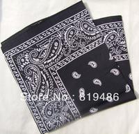 Free shipping 2 pcs Bandanas black flower 100%cotton  Big size 54cm Square head wrap Hankyscarf Scarve