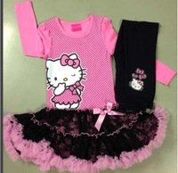 Girls Hello Kitty  Christmas Suits TuTu Dress + Pants Fashion Yarn Suits Free Shipping  LG4811CH