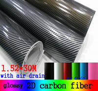 Wholesale glossy 2D Carbon Fiber with air drain twill weave carbon fiber DIY Car Sticker 1.52*30m/roll 7colors