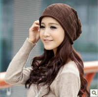2013 free shipping Autumn Winter Knitting Wool Hat for Women Caps Lady Beanie Knitted Hats Caps, Free Shipping