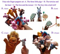 Wholesale Promotions Classic 4 World Fairy Tales Finger Puppets Set,Plush Baby Toy,Early Learning Dolls,FreeShipping