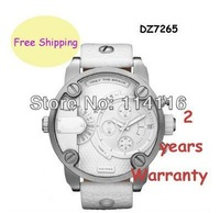 New DZ7265 7265 Men's SBA White Leather Band Dual Time Zone Chronograph Watch